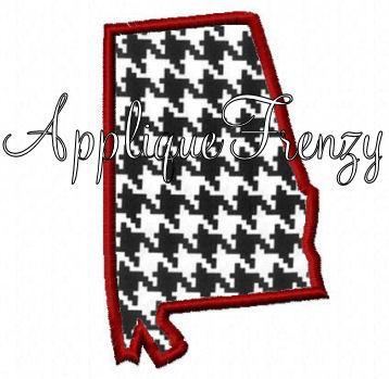 Alabama Outline Applique Design-alabama, roll tide, crimson, elephant, ASU