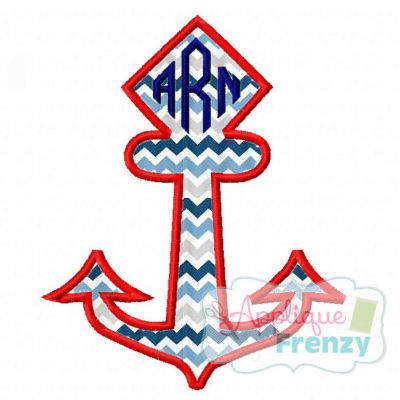 Diamond Top Anchor Applique Design-nautical, sea, beach, boat, sailboat, summer
