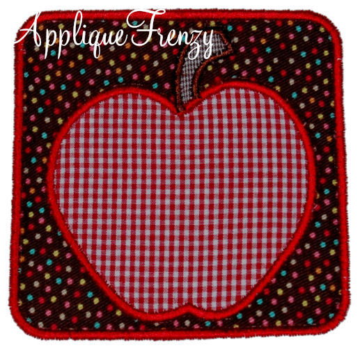 Apple Rounded Square Patch Applique Design-