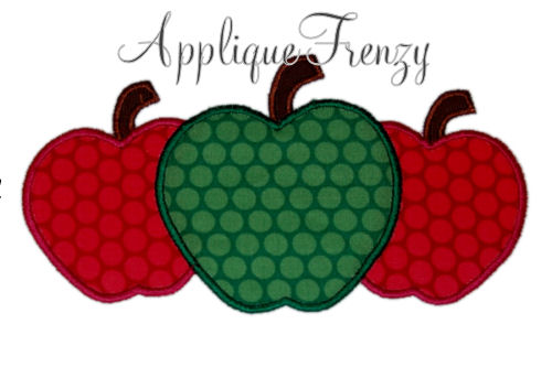 Apple trio applique design