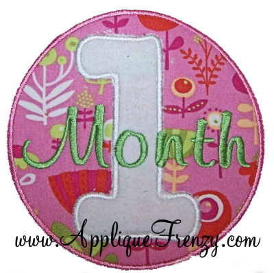 Baby Months Applique Font-