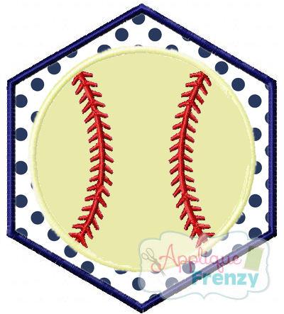 Baseball Hexagon Patch Applique Design-