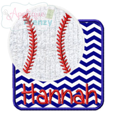 Baseball Square Patch Applique Design-baseball, baseball patch, ball