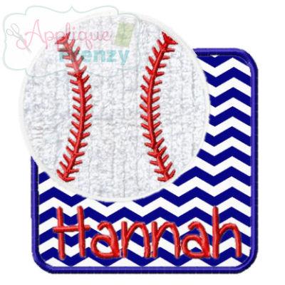 Baseball Square Patch Applique Design-baseball, baseball patch, ball