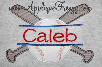 Bats and Baseball Name Applique Design-