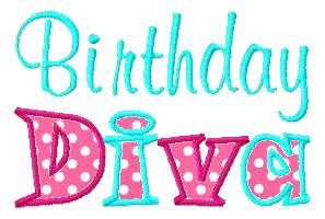Birthday Diva Applique Design-birthday, girls, cupcake, cake, party