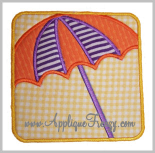 Beach Umbrella Square Patch Applique-
