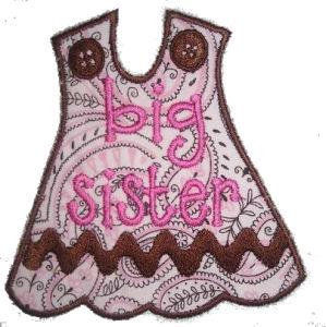 Big-Lil Sister Dress Applique Design-dress, big sister, lil sister, little sister,
