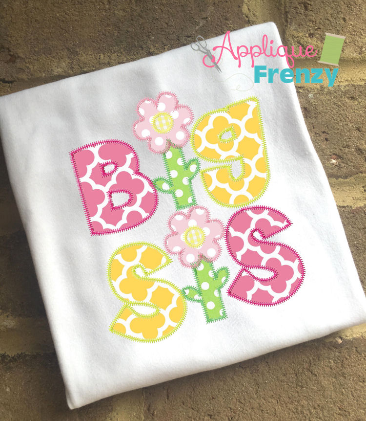 Big Sis Applique Design-big sis, little sis, lil sis, new baby, newborn, sister gifts, sister applique, big sister applique
