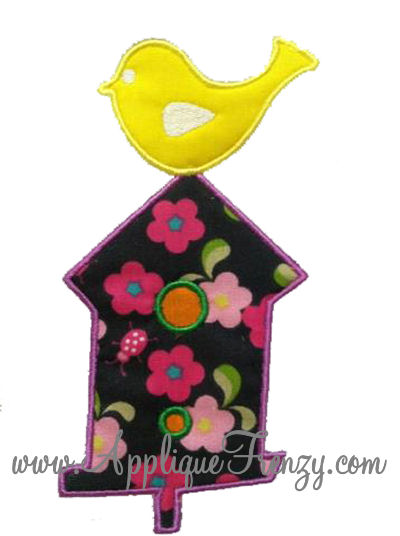 Bird on a Bird House Applique Design-