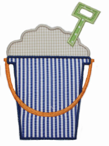 Sand Bucket Applique Design-sand, sand bucket, bucket, beach, pool, toys, summer, beach bucket.