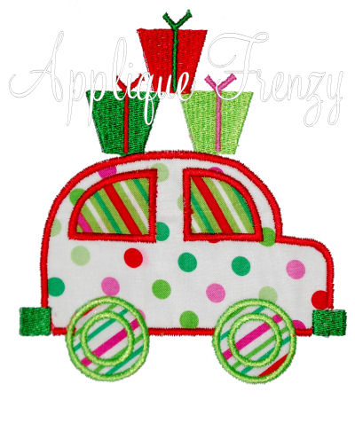 Christmas Buggy Applique Design-christmas, buggy, car, girl christmas, gifts, presents, santa
