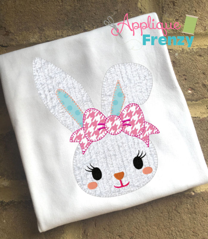Bunny with a Bent Ear Applique Design-bunny, rabbit, easter, eggs, egg hunt, spring, flowers