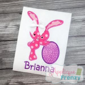 Bunny leaning on Egg Applique Design-