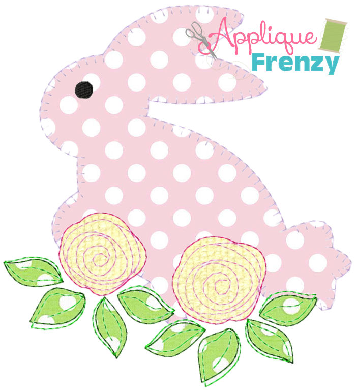 Bunny on Rose Bed Applique Design-bunny, rabbit, easter, easter bunny, roses, egg hunt