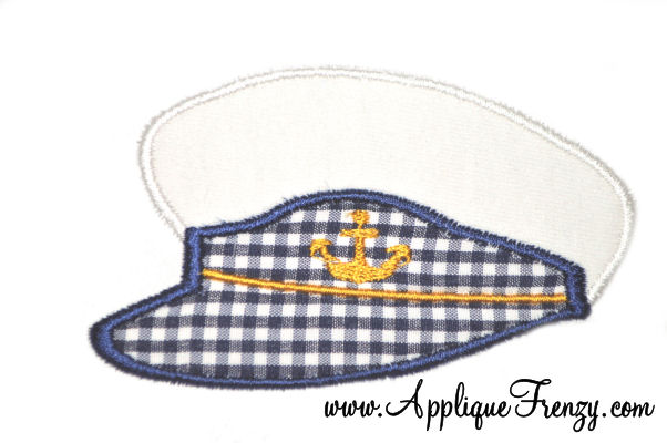 Captains Hat Applique Design-sailing, cruising, cruise, captain