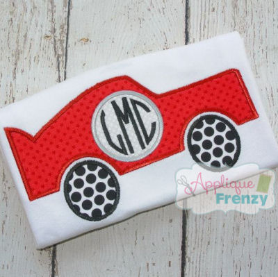 Car with Monogram Circle Applique Design-