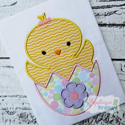 Chick in an Egg Applique Design-easter, chick, bunny