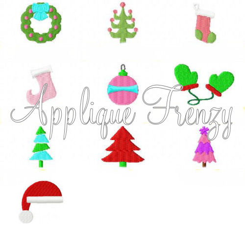 Christmas Minis Embroidery Designs-chrismtas, stocking, santa, wreath, mini, embroidery, tree,