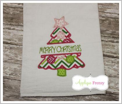Split Snowy Christmas Tree Applique Design-