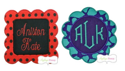 Scallop Circle and Square FRAME SET Applique Design-