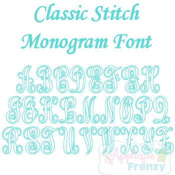 Classic Monogram Classic Stitch Embroidery Font-vintage font, classic monogram, itch 2 stitch font, classic stitch