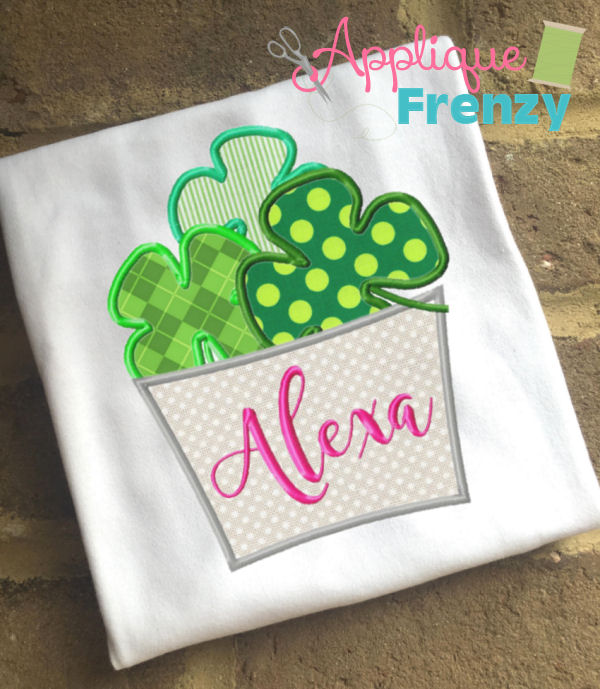 Clover Filled Bucket Applique Design-st pattys day, st patricks day, clover, shamrock, rainbow, pot of gold, leprechaun