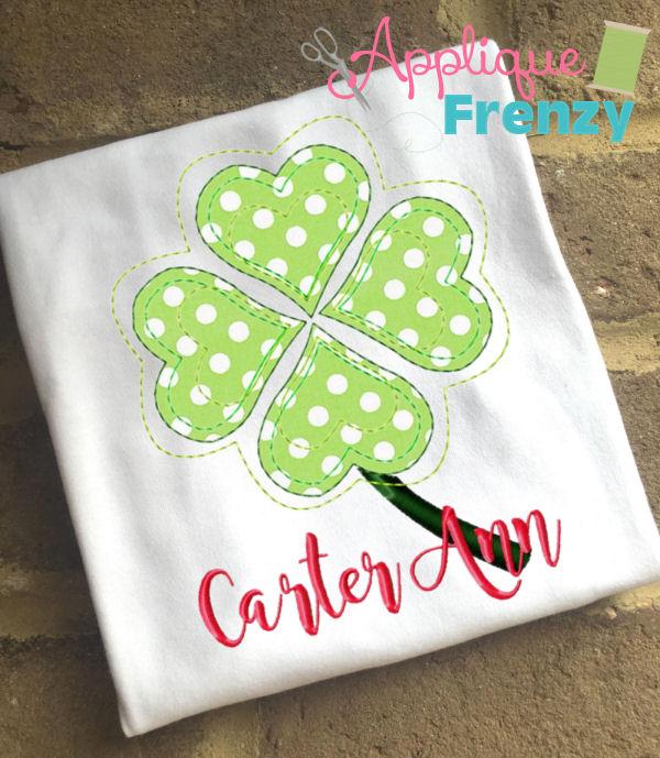 Raggy Clover Applique Design-clover, shamrock, st pattys, st patricks leprechaun