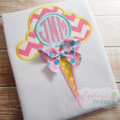 Cotton Candy with Monogram Circle Applique Design-