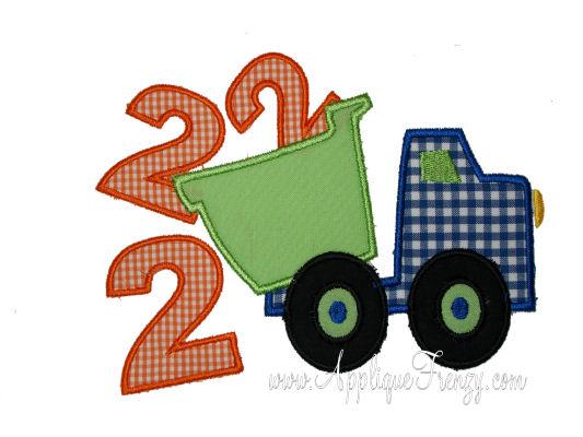 Second Birthday Dumptruck Applique Design-dumptruck, birthday, second birthday, 2nd bday,