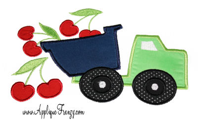 Cherry Dumptruck Applique Design-CHERRY, CHERRIES, DUMPTRUCK, DUMP TRUCK