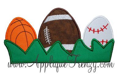 Sports Eggs In Grass Applique Design-