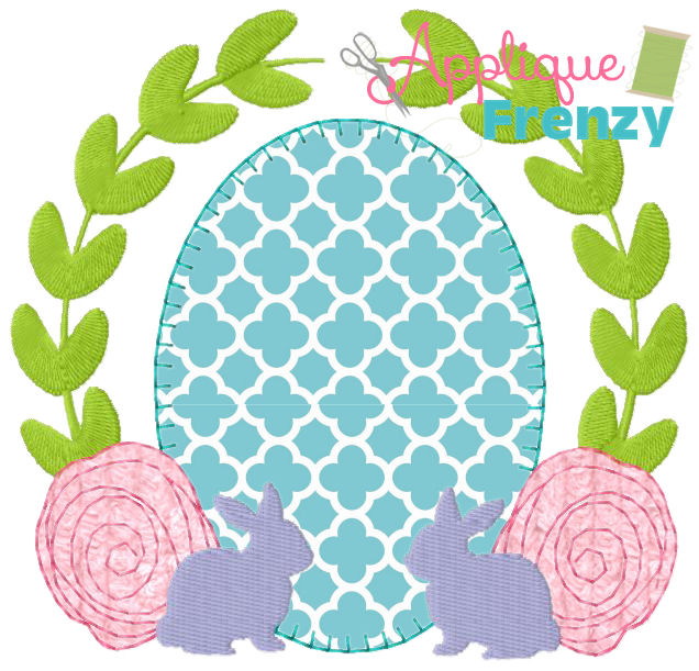 Easter Egg Bunny Vine Frame Applique Design-easter, easter egg, applique, bunny, rabbit, carrot, spring, cross