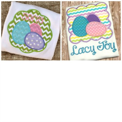 Egg Trio Scallop Circle AND Scallop Square  Applique Design SET-