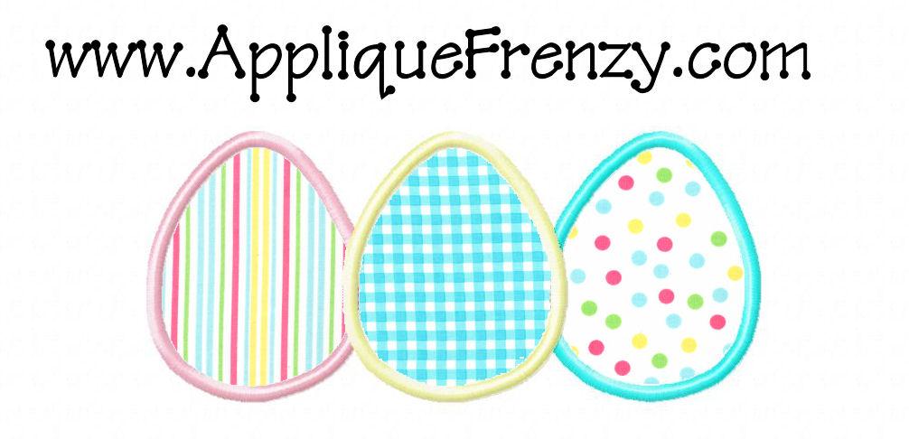 Egg Trio Applique Design-egg, easter, bunny