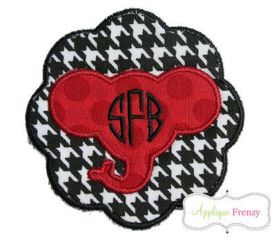 Elephant Scallop Patch Applique Design-