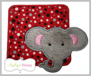 Elephant Square Patch Applique Design-