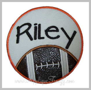 Football Circle Patch Applique Design-