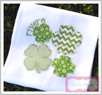 Four Leaf Clover Quad Applique Design-