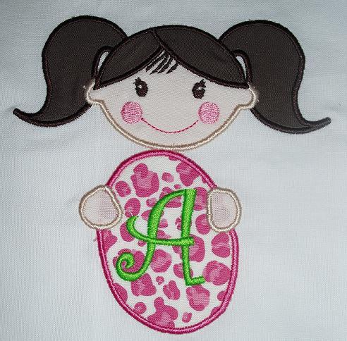 Girl with Easter Egg Applique Design-easter, girl, egg, bunny