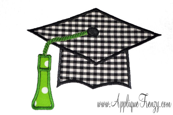 Graduation Cap Applique Design-