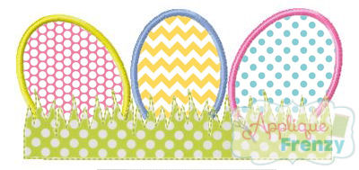 Grassy Egg Trio Applique Design-