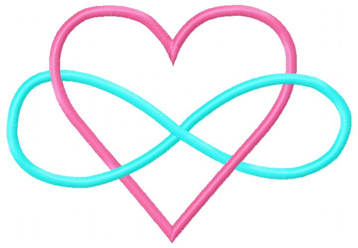 Heart Infinity Embroidery Design-