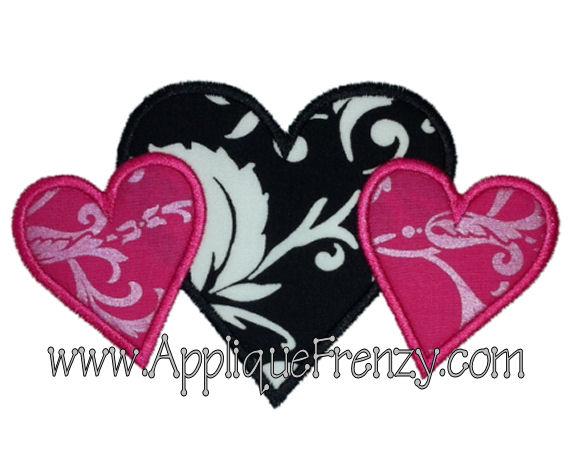 Heart Trio Applique Design-