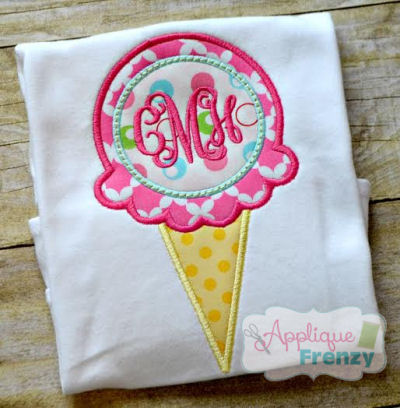 Ice Cream with Monogram Circle Applique Design-