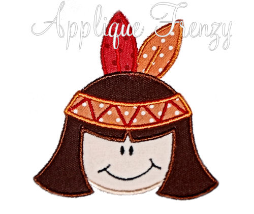 Indian Girl Applique Design-indian, pilgrim, thanksgiving, native american, feathers