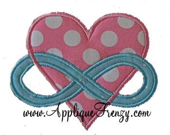 Heart Infinity Applique Design-