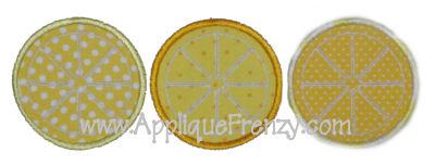 Lemon Slice Trio Applique Design-