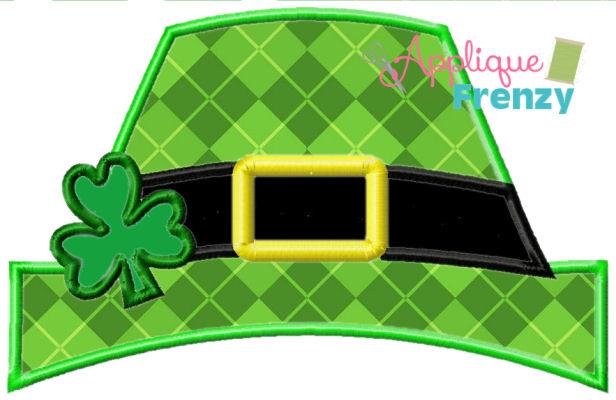 Leprechaun Hat Applique Design-leprechaun, irish, green, pinch me, shamrock, clover, st patricks day, st pattys day, rainbow, pot of gold, applique, embroidery, applique design, st pattys applique