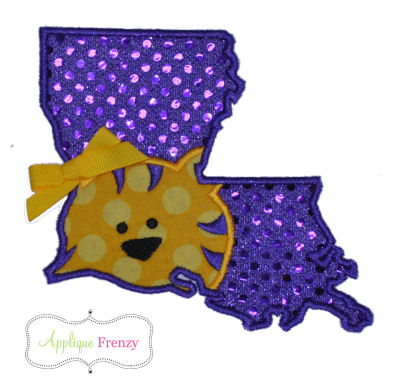 Louisianna State Outline-Tiger Applique Design-